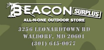 Return Home - Beacon Surplus sells Military Surplus, Canoes and Kayaks, Camping Equipment, Professional Work Wear, Scouting Uniforms, Scouting Supplies, Specialty Boots and Footwear in Waldorf, Maryland (MD).  Carhartt, Old Town, Dagger, Perception, Ocean.